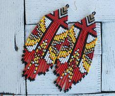 Hoop earrings, clip on earrings, Pressed flower jewelry by RednArt Tribal Earrings, Red Earrings, Seed Bead Earrings, Fringe Earrings, Beaded Earrings, Tassel Earing, Earrings Handmade, Huichol Art, Native American Earrings