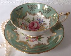 Sage Paragon China Tea Cup & Saucer by TheEclecticAvenue on Etsy