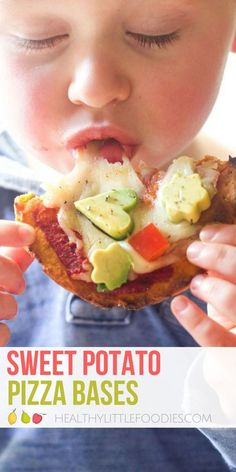These sweet potato pizza bases are great for baby led weaning, toddlers and big kids. Can be used is a variety of ways, detailed in the recipe. 4 ingredients. #pizza #babyledweaning #kidsfood #kidfood via @hlittlefoodies