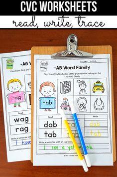 CVC Words Worksheets All Vowels - CVC Word Families Worksheets Kindergarten 1st Grade Activities, Phonics Activities, Classroom Activities, Easter Activities, Learning Activities, English Activities, Cvc Worksheets, Kindergarten Worksheets, In Kindergarten