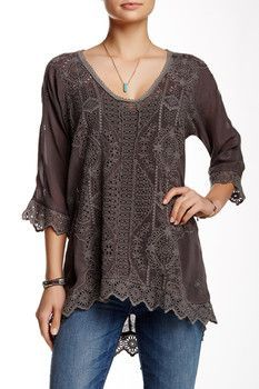 Johnny Was Embroidered Eyelet Tunic Blouse