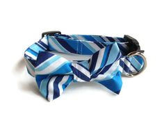 Blue Striped Bow Tie Dog Collar size Medium by jeanamichelle, $17.00