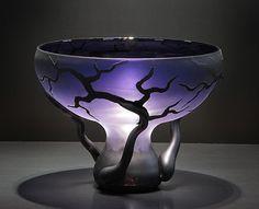 Blown Art Glass Vase Chalice Root Vessel by Bernard Katz Glass.  #purple #glass #artglass #handblown  #bernardkatz