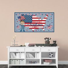 Mona Melisa Designs Patriotic Boy Hanging Wall Mural Skin Shade: Medium, Camo Color: Blue, Eye color: Brown, Hair color: Brown