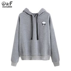 Fedi Apparel Womens Long Sleeve Hoodie Pullover Blouse Pattern Sweatshirt Grey (US Gray Hoodies) Hoodie Sweatshirts, Alien Sweatshirt, Grey Sweatshirt, Grey Sweater, Sweat Shirt, Pull Sweat, Vetement Fashion, Mein Style, Harajuku