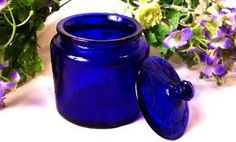 Cobalt Blue Glass Jar - delicate glass jar has an embossed design.