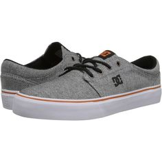 DC Trase TX SE Skate Shoes, Gray ($35) ❤ liked on Polyvore featuring shoes, sneakers, grey, skate shoes, grey sneakers, dc shoes footwear, grey shoes and low top canvas shoes