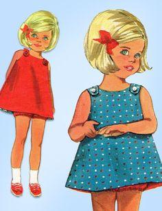 1960s Vintage Butterick Sewing Pattern 4813 Easy Toddler Girls Sun Dress Size 2 #Butterick #DressPattern