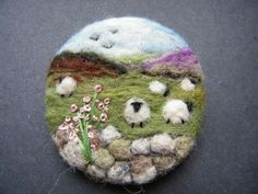 Unique Hand Made Needle Felted Brooch - 'The Uplands' by Tracey Dunn: