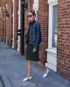 Striped Sheath Dress and Jean Jacket   MEMORANDUM   Bloglovin'