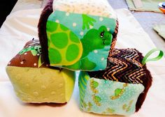 Soft Fabric Baby Blocks - Brown & Green Set of 3 by FlaxNThimble on Etsy https://www.etsy.com/ca/listing/201163905/soft-fabric-baby-blocks-brown-green-set
