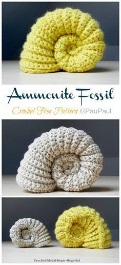 Ammonite Fossil Crochet Free Pattern - Crochet & Knitting Easy Crochet Patterns, Crochet Patterns Amigurumi, Crochet Toys, Free Crochet, Sewing Patterns, Free Knitting, Crochet Wreath, Crochet Flowers, Making Fabric Flowers