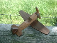Wooden Airplane, a Classic Toy in Walnut - Natural Wood Toddler Toy