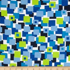 Scout Collection Athletic Club Cotton Jersey Knit Blocks Blue/Green from @fabricdotcom  This cotton jersey knit fabric has a soft hand and about 25% stretch across the grain. This versatile fabric is perfect for creating kids' apparel and T-shirts.