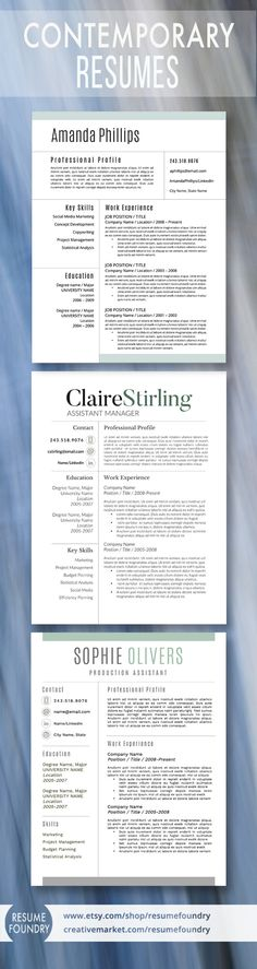 Top selling resume templates from Resume Foundry.