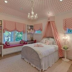 Wallpapered Ceiling, Traditional, girl's room, Houston Culture Map