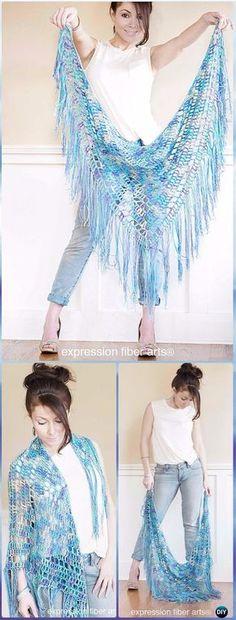 Crochet Boho Triangle Shawl Free Pattern - -Crochet Women Shawl Sweater Outwear Free Patterns