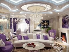Дизайн интерьера квартиры на Староволынской в стиле Ар Деко - фото Palaces, Interior And Exterior, Interior Design, Villa, Purple Home, Home Spa, Ceiling Design, Home Decor Styles, My Dream Home