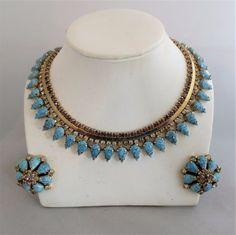 Vintage HOBE Faux Turquoise w Violet Stones Necklace & Earrings Set #Hobe