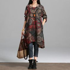 Cheap women spring dress, Buy Quality spring dress directly from China winter dress Suppliers: 2016 New fashion autumn winter dress vintage painting style thicken warm woolen casual dress loose women spring dress Casual Dresses Plus Size, Casual Dresses For Women, Clothes For Women, Office Attire Women, New Fashion, Autumn Fashion, Long Sleeve Tunic Dress, Dress Long, Winter Dresses