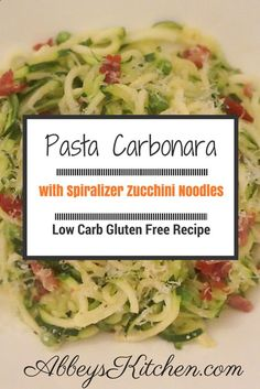#NEW POST: Pasta Carbonara with Spiralizer Zucchini Noodles ! Check out this #delicious low carb, gluten free #healthy #recipe for Pasta #Carbonara using the Spiralizer tool to make Zucchini Noodles for an Italian classic. For more go to AbbeysKitchen.com