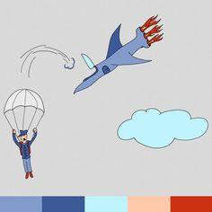 An illustration of a pilot escaping his crashing jetplane