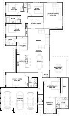 love this floor plan. Guest Suite could also be an office/craft room Love the bathroom layout near the kids bedrooms as well as the study nook.