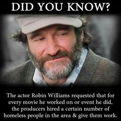 Robin Williams may have had his struggles in life, but there is no doubting that he was a great and inspirational man. However, we expect you probably didn't know this great fact about the sadly Robin Williams Quotes, Robin Williams Movies, Human Kindness, Faith In Humanity Restored, Actrices Hollywood, Robins, Good People, Did You Know, In This World