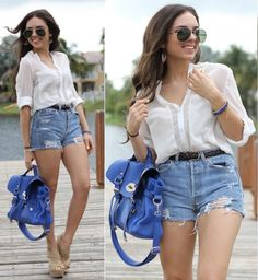Fashion Style 2012 Summer - White Blouse With Denim Short    http://ecasirip.com/fashion-style-2012-summer