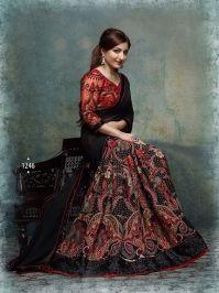 Buy Soha Khan Black Georgette  Printed saree