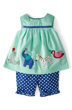 Mini Boden 'Summer Play Set' Embroidered Appliqué Top & Crop Pants (Baby Girls)