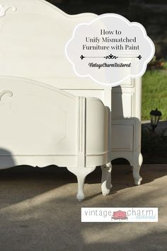 """Today I have a beautiful set to share with you. Collected pieces over time and we are unifying mismatched furniture with paint!! Painted in all white to bring it together."""