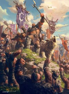 ArtStation - Children of stone, Orc clans gather at the kosh'harg to create the FIRST HORDE, Stanton Feng