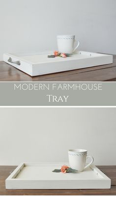Easy DIY Modern Farmhouse Tray | make youw own farmhouse tray with this quick tutorial from Bitterroot DIY #farmhousestyle #modernfarmhouse #diytray #beginnerwoodworking