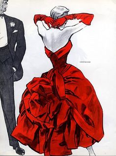 Evening dress from Christian Dior illustrated by Pierre Mourgue, 1956. #vintage #1950s #fashion