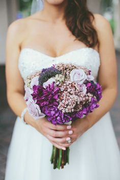 pretty purple bouquet by anthology co #purple #bouquets http://www.weddingchicks.com/2013/11/14/vegan-wedding/