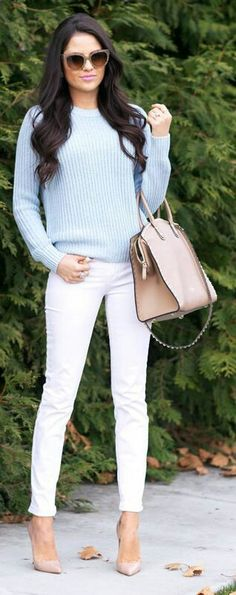 candy blue sweater; white pants