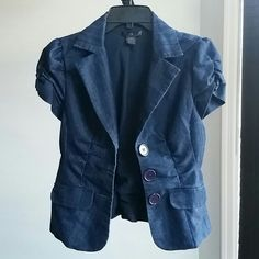 Short Sleeve Jacket Cute short sleeve blazer/jacket. You can use it to dress down a very formal outfit or to dress up your jeans. Looks like denim, tag shows 100% cotton. Jackets & Coats Blazers