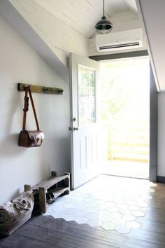 A modern day mil suite, via house*tweaking. I like the part tile entry flooring . A modern day mil suite, via house*tweaking. I like the part tile entry flooring in that foyer space Entryway Flooring, Kitchen Flooring, Tile Entryway, Transitional Living Rooms, Transitional House, Transitional Lighting, Wood Tile Floors, Wooden Flooring, Wood Floor
