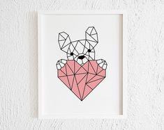 geometric animals Excited to share this item from my shop: Geometric French Bulldog with Heart Print. Geometric Shapes Art, Geometric Quilt, Geometric Designs, Geometric Animal, 3d Zeichenstift, Dibujos Zentangle Art, Origami, French Bulldog Art, Triangle Art