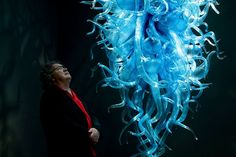 Dale Chihuly With Blue Chandelier