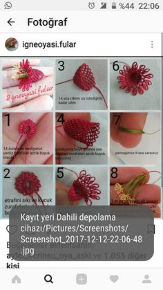 This post was discovered by Se Needle Tatting Patterns, Embroidery Flowers Pattern, Ribbon Embroidery, Flower Patterns, Beaded Flowers, Crochet Flowers, Beaded Banners, Popular Crochet, Tatting Jewelry