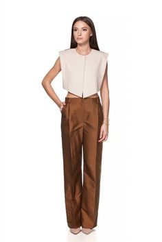Maria Alina Margulescu – Cloth Vest & Brown Pants Brown Pants, Khaki Pants, Contemporary Fashion, Traditional Design, Vest, Suits, Clothes, Atelier, Outfits