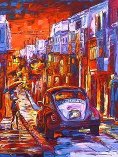 Taxi in Street  Gallery Wrap  Custom Art  Hand by handmadesignart, $120.00