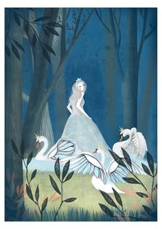 Swan Lake illustration of Odette the Swan Princess and swans Princess Illustration, Illustration Art, Swans, Swan Lake Ballet, Princess Art, Odette Swan Princess, Disney Princess, Lake Art, Funny Art