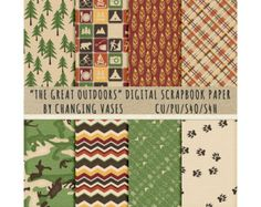 Digital Scrapbooking Paper, The Great Outdoors, Camping Clipart, Nature Clip Art Graphics, Hunting Elements