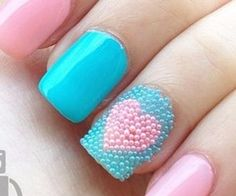 NAILED IT! Nail Color & Art / Pastel Pink and Blue Nails complete with beads and a heart. #pink...