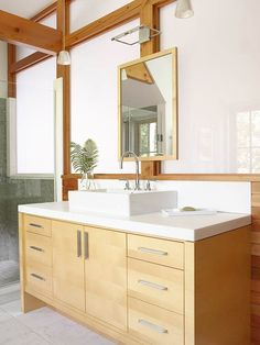 Bathroom Vanity with Natural Light-opaque glass panels admit natural light but preserve privacy at the front of the house.  streamlined cabinet hardware and flat-panel cabinet doors add contemporary flair.