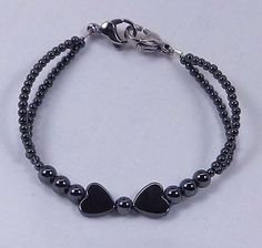 Hematite Double Strand Gemstone Bracelet | Hematite Heart Double Strand Medical ID Alert Replacement Bracelet ...