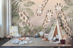 Cute Giraffes Between Tropical Leaves Wallpaper, Wall Mural. Easy to remove, expedited shipping, Safe. Windows Wallpaper, Photo Wallpaper, Leaves Wallpaper, Cartoon Giraffe, Cute Giraffe, Murals For Kids, Nursery Wallpaper, Safari Nursery, Nursery Neutral